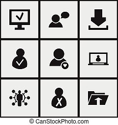 Set Of 9 Editable Network Icons. Includes Symbols Such As Access Allowed, Computer, Blocked Person And More. Can Be Used For Web, Mobile, UI And Infographic Design.