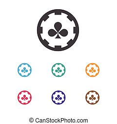 Vector Illustration Of Business Symbol On Casino Chip Icon. Premium Quality Isolated Diamond Cards Element In Trendy Flat Style.