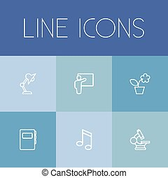 Set Of 6 Editable Education Outline Icons. Includes Symbols...