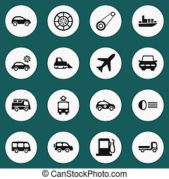 Set Of 16 Editable Transportation Icons. Includes Symbols Such As Wheel, Aircraft, Family Jeep And More. Can Be Used For Web, Mobile, UI And Infographic Design.