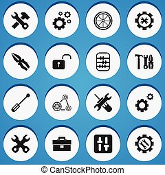 Set Of 16 Editable Tool Icons. Includes Symbols Such As...