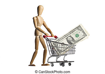 Mannequin shopping cart and money