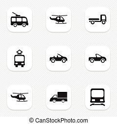 Set Of 9 Editable Transport Icons. Includes Symbols Such As...
