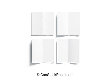 Blank white multi-page booklet mock up, opened top view,...