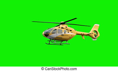 The Yellow helicopter on green