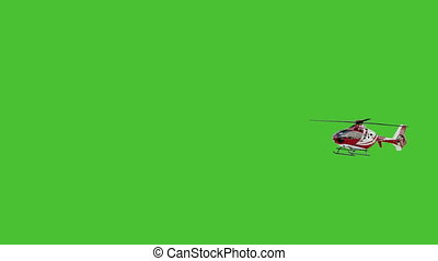 Helicopter on chromakey.Slow motion