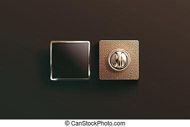 Blank gold enamel pin black mock up, front and back side...