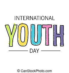 The youth day. The inscription is written in pen. Bright colors and a thick marker.
