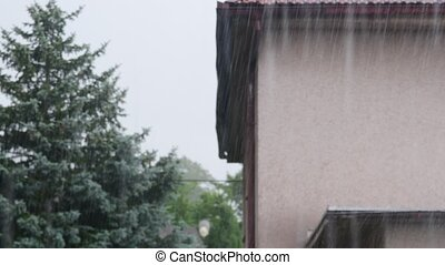 View of heavy rain from roof.