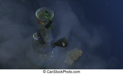 Water-pipe cannabis bud dark background - Bong weed smoke...