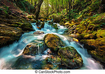 River flowing on mossy boulders
