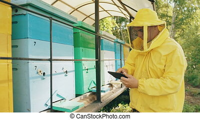 Beekeeper man with tablet computer checking wooden beehives...