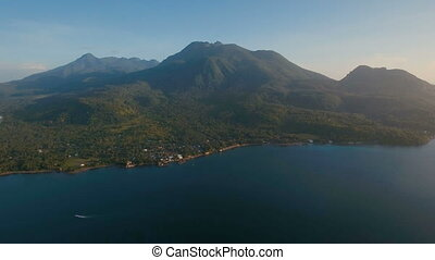 Aerial view beautiful coastline on the tropical island with...