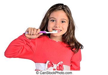 女孩, 孩子, 洗滌, 牙齒