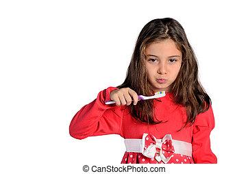 女孩, 孩子, 刷子, 藏品, 牙齒