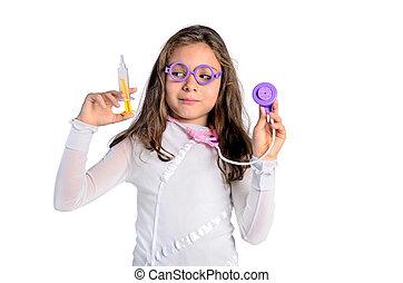 menina, filho jogando, doutor