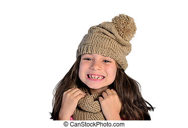 little girl with winter clothes