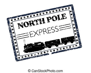 North Ploe Express stamp - Black grunge rubber stamp with...