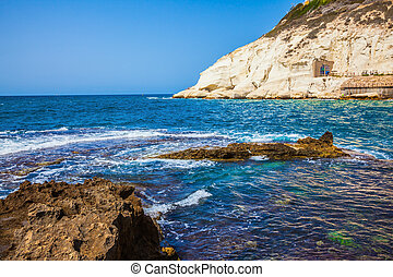 Rocks of limestone on the border with Lebanon - The north of...