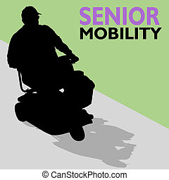 Elderly Senior Man Riding Scooter - An image of a senior man...