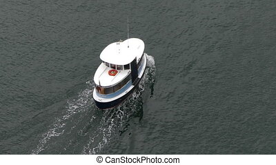 Aqua bus floating ocean background - Small ship moving water...