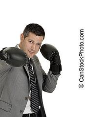 homem negócios, boxe, luvas