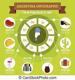 Argentina infographic concept, flat style - Argentina...