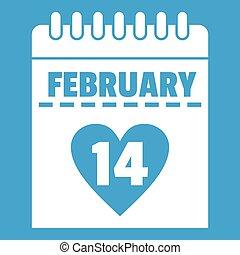 Valentines day calendar icon white