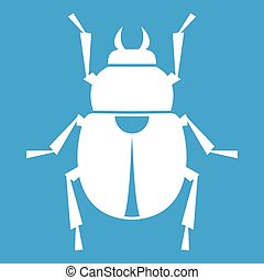 Scarab icon white isolated on blue background vector...