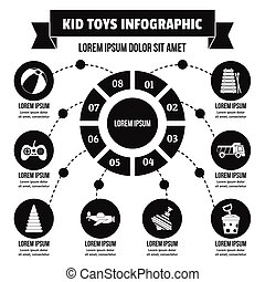 Kid toys infographic concept, simple style