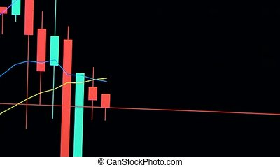 Stock market concept, candle chart. Businessman working with tablet pc