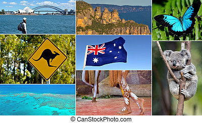 Travel Australia postcard - Australian collage. Travel...