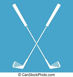 Two golf clubs icon white isolated on blue background vector...