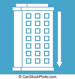 Tall building and down arrow icon white isolated on blue...