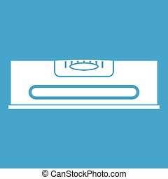 Building level icon white isolated on blue background vector...