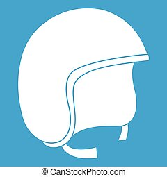 Safety helmet icon white isolated on blue background vector...