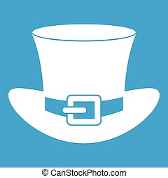 Top hat with buckle icon white isolated on blue background...