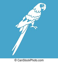 Brazilian parrot icon white isolated on blue background...