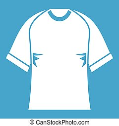 Raglan tshirt icon white isolated on blue background vector...
