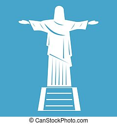 The Christ the Redeemer statue icon white isolated on blue...