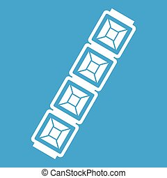 Jewelry chain icon white isolated on blue background vector...