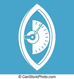 Hand power meter icon white isolated on blue background...
