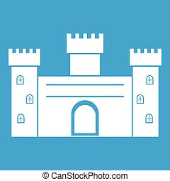 Medieval fortification icon white isolated on blue...