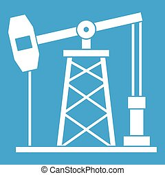 Oil derrick icon white isolated on blue background vector...