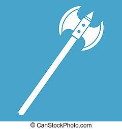 Poleaxe icon white isolated on blue background vector...