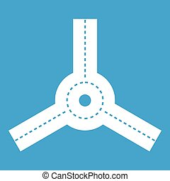 Roundabout icon white isolated on blue background vector...
