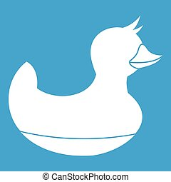 Black duck toy icon white isolated on blue background vector...