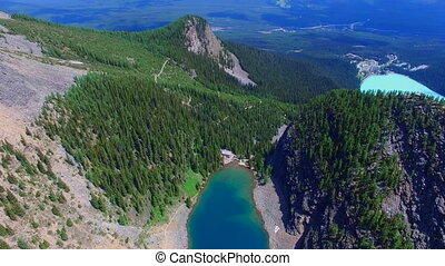 Scenery aerial Banff Canada - Flying over beautiful...