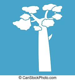 Baobab icon white isolated on blue background vector...