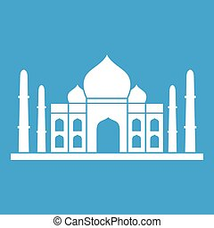 Taj mahal icon white isolated on blue background vector...